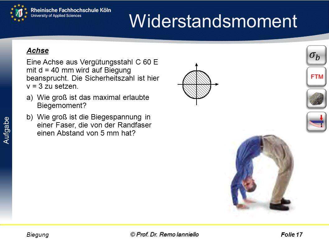 Aufgabe Quiz Querschnitts-Größen Biegung© Prof. Dr.