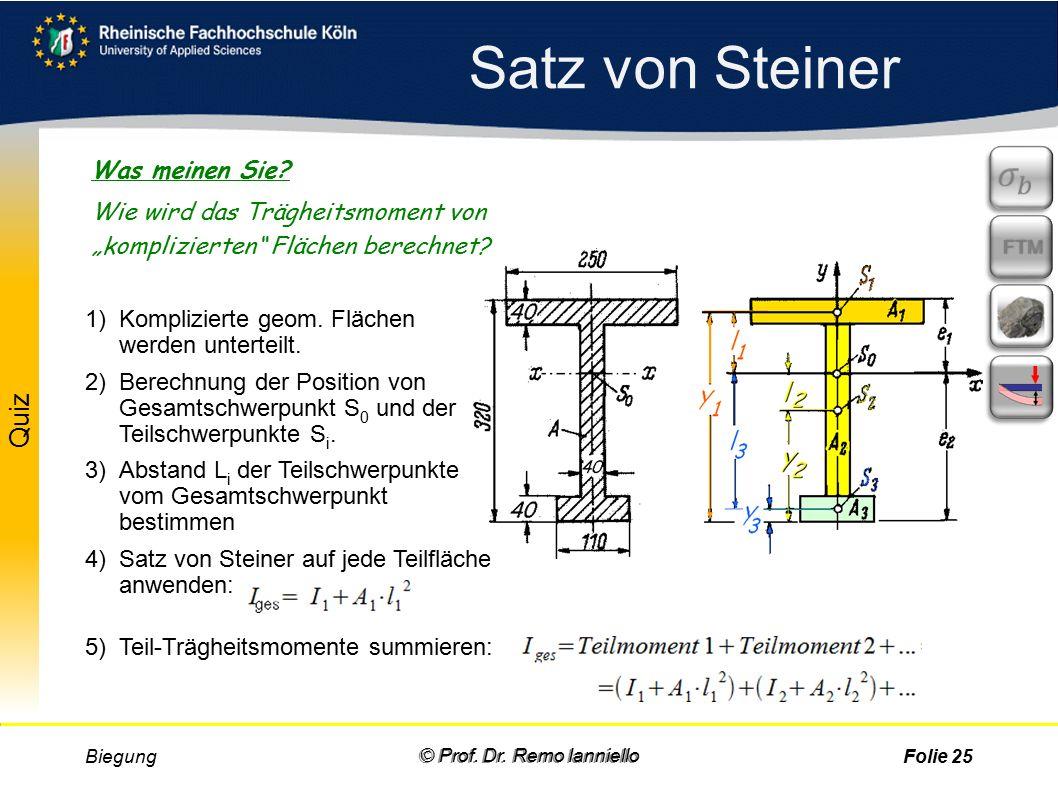 Biegung© Prof. Dr. Remo IannielloFolie 24 Satz von Steiner