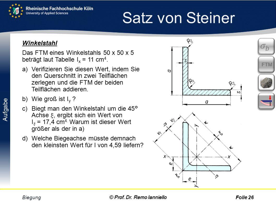 Aufgabe Quiz Satz von Steiner Biegung © Prof. Dr.