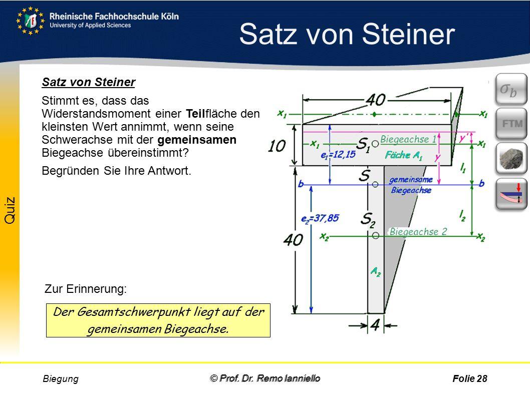 Satz von Steiner Biegung © Prof. Dr.