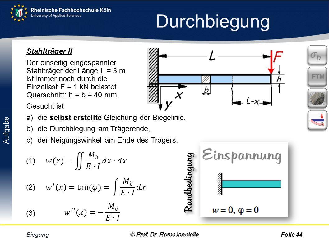 Durchbiegung Randbedingungen Erstellt man die Gleichung der Biege- linie selbt, muss man Integrale lösen.