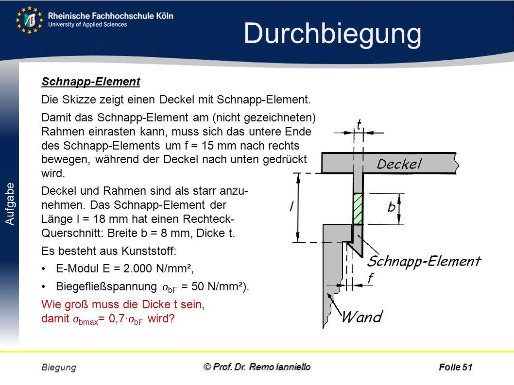 Aufgabe Satz von Steiner Biegung © Prof. Dr.