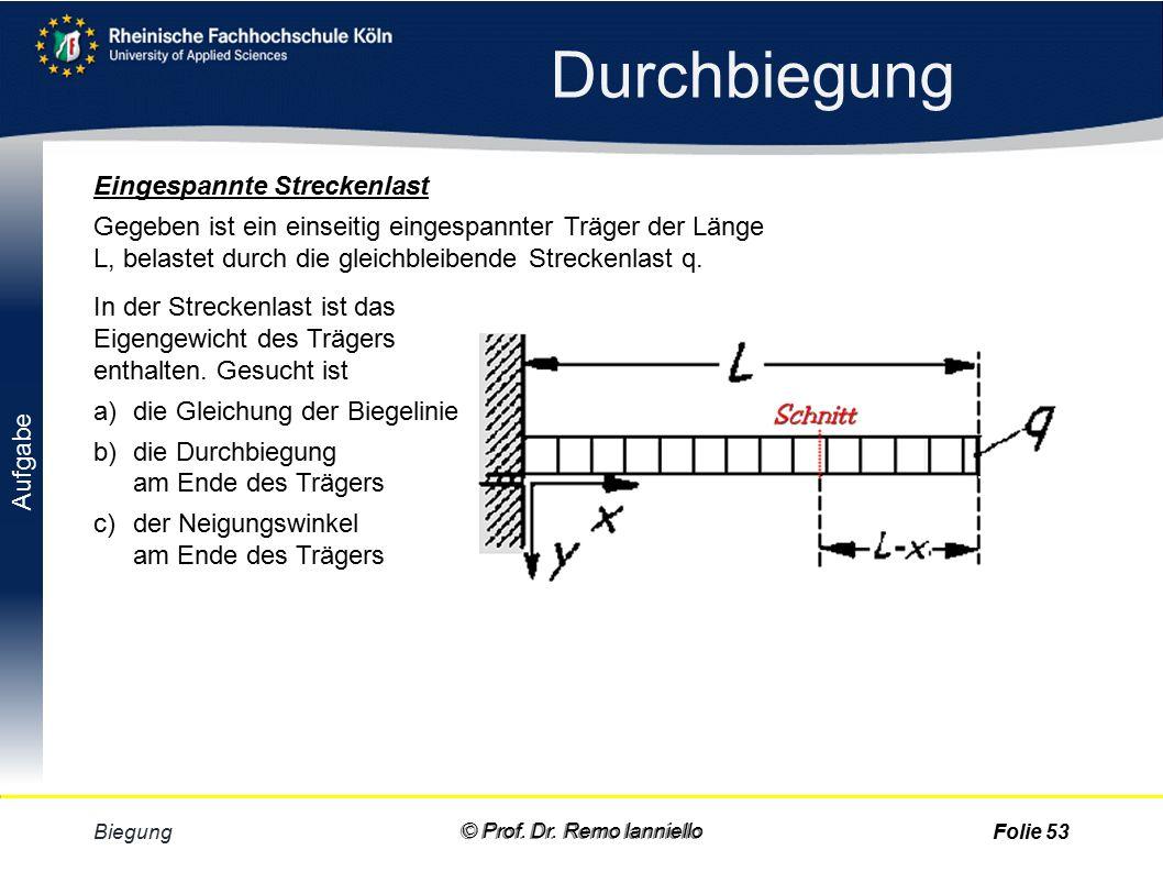 Aufgabe Lösung Durchbiegung Biegung© Prof. Dr. Remo IannielloFolie 52