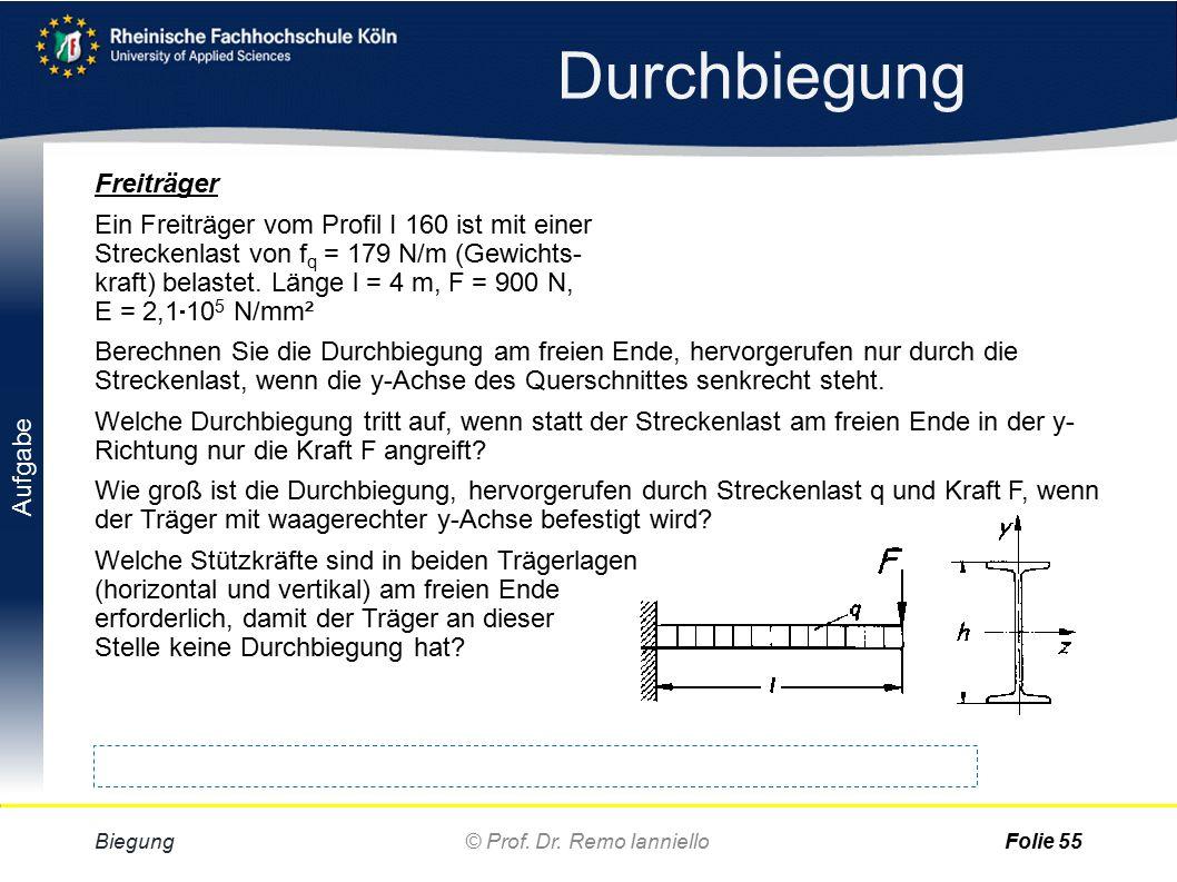 Aufgabe Lösung Durchbiegung Biegung© Prof. Dr. Remo IannielloFolie 54