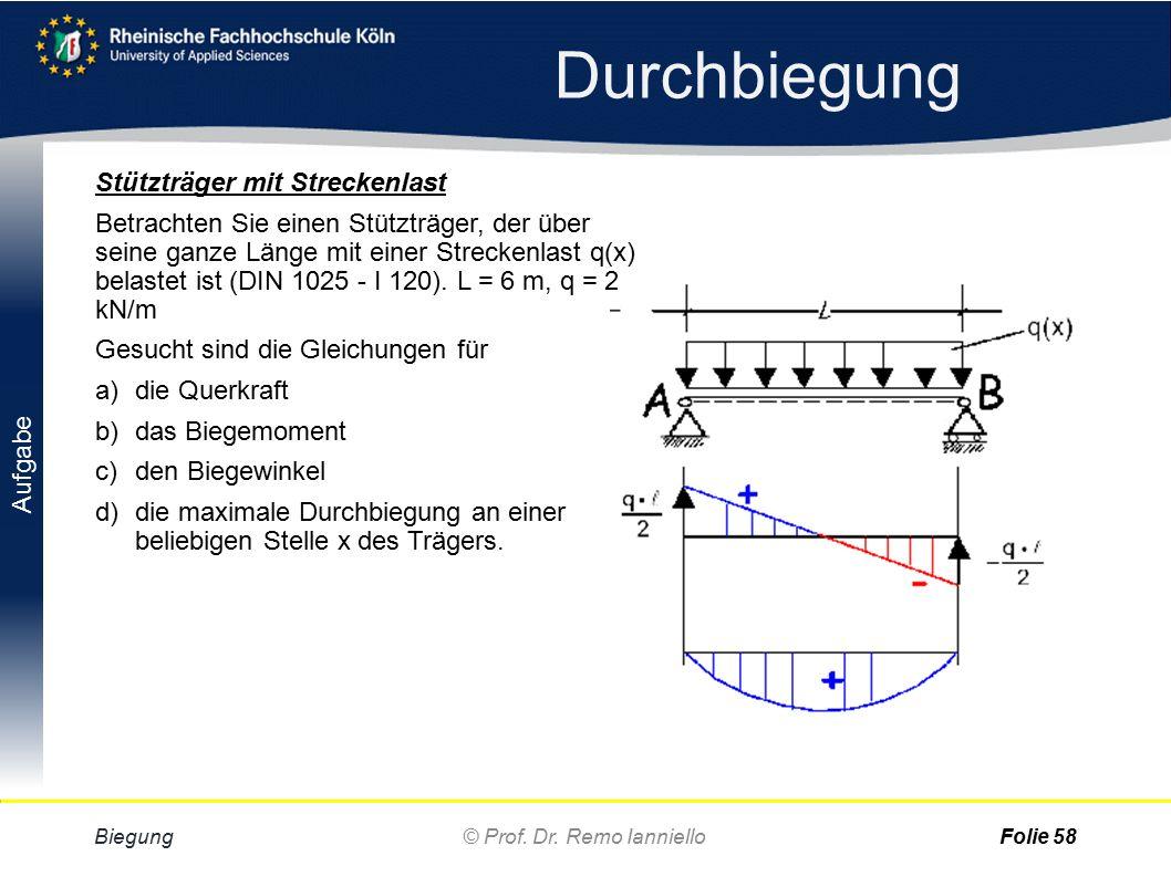 Aufgabe Lösung Durchbiegung Biegung© Prof. Dr. Remo IannielloFolie 57