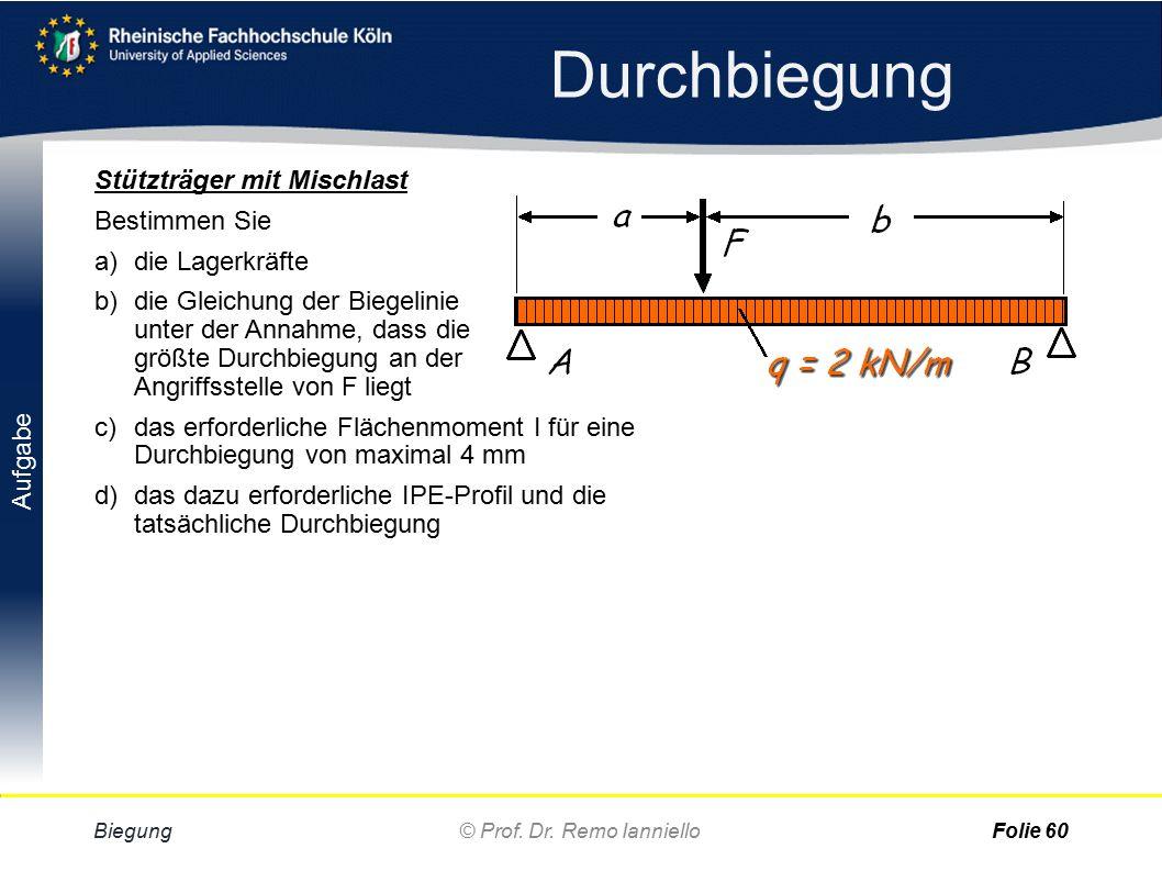 Aufgabe Lösung Durchbiegung Biegung© Prof. Dr. Remo IannielloFolie 59