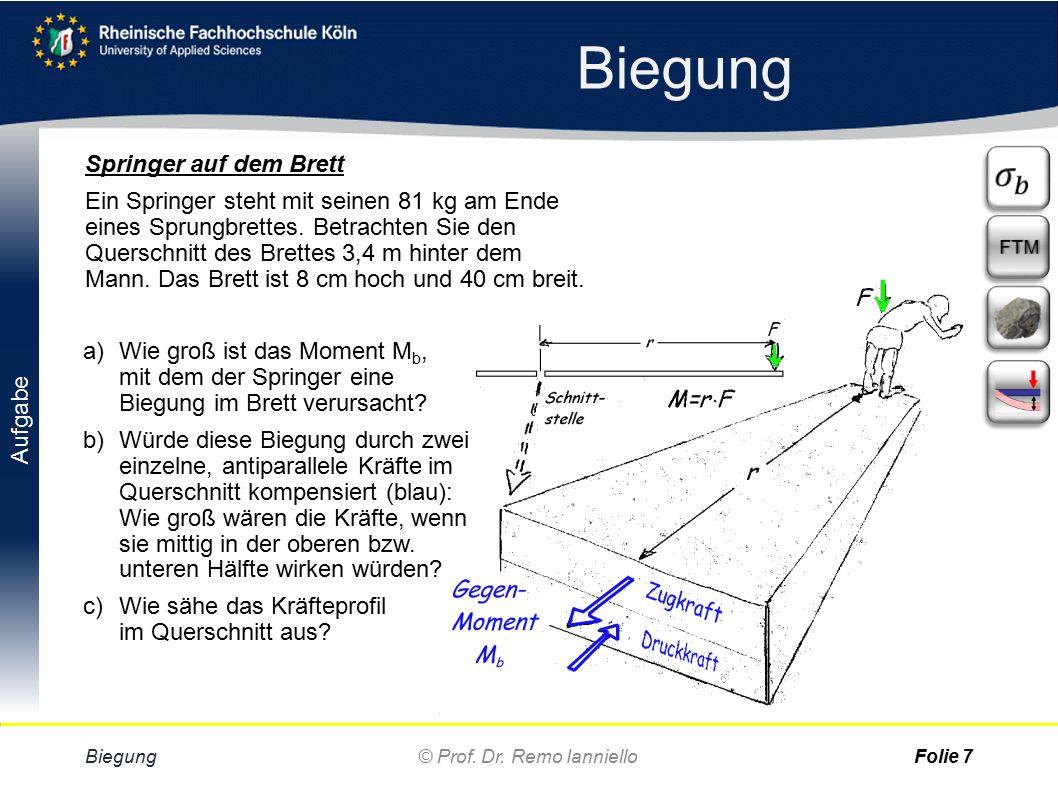 Aufgabe Quiz Biegemoment Biegung © Prof. Dr.