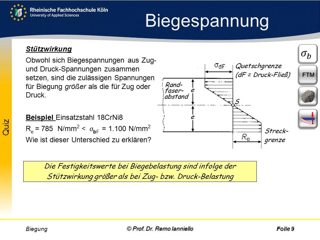 Aufgabe Quiz Biegespannung Biegung © Prof. Dr. Remo IannielloFolie 8 © Prof.