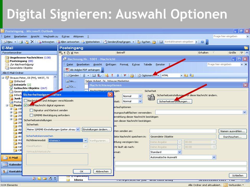 Signaturvorgang: Beispiel E-Mail