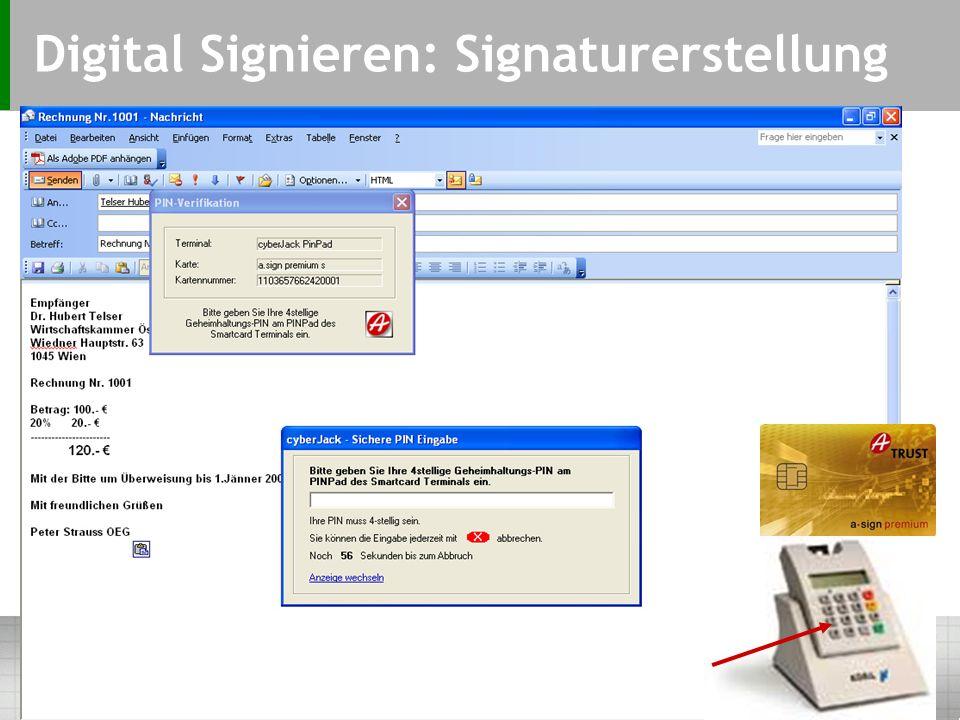 Digital Signieren: Auswahl Optionen