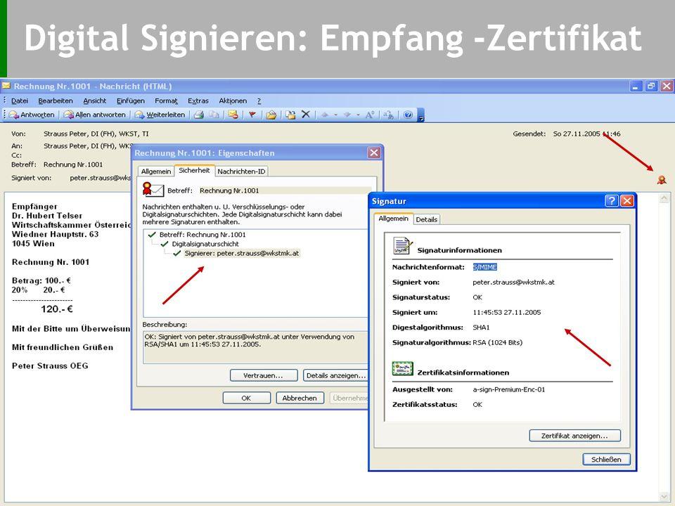 Digital Signieren: Signaturerstellung