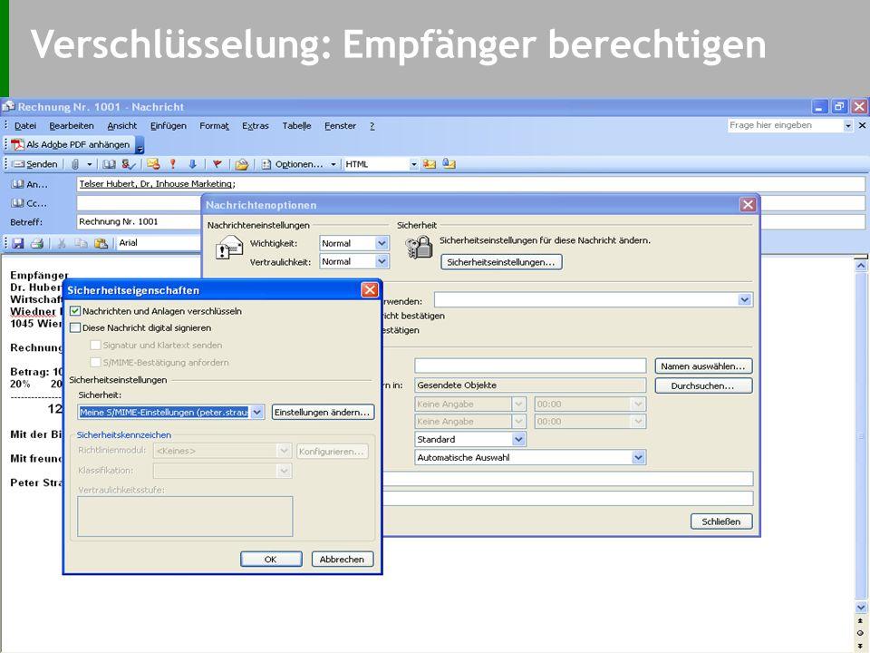 Digital Signieren: Empfang -Zertifikat