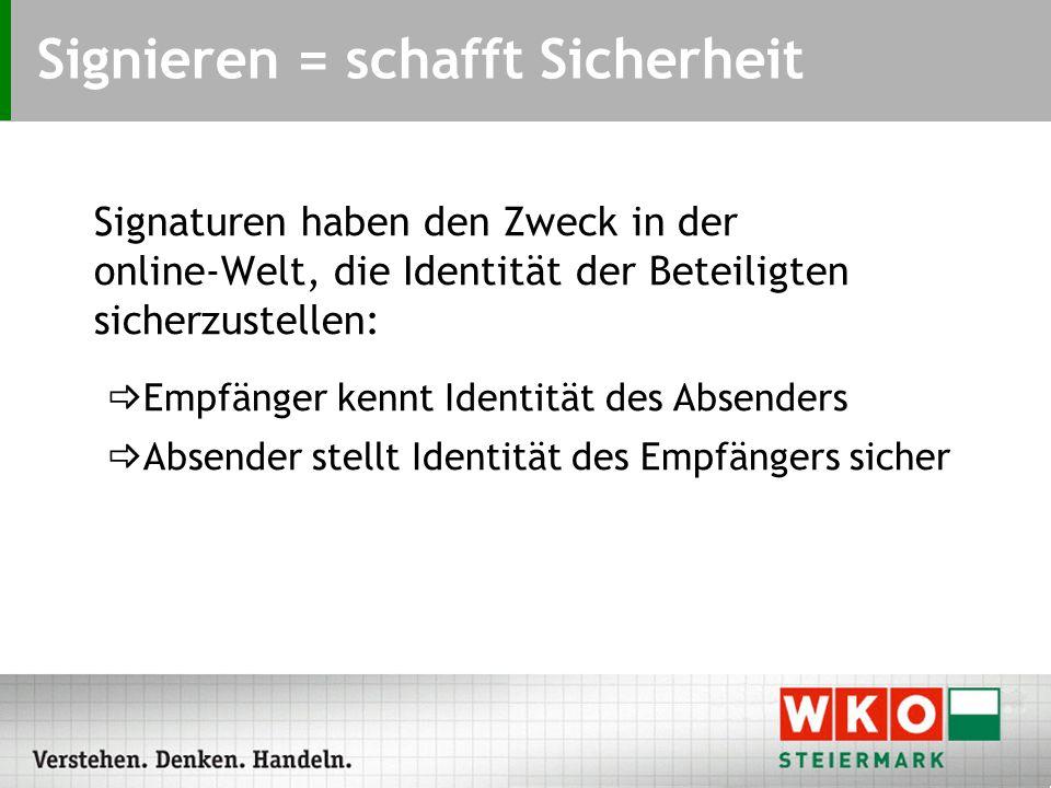 Signaturen haben den Zweck in der online-Welt, die Identität der Beteiligten sicherzustellen:  Empfänger kennt Identität des Absenders  Absender stellt Identität des Empfängers sicher Signieren = schafft Sicherheit