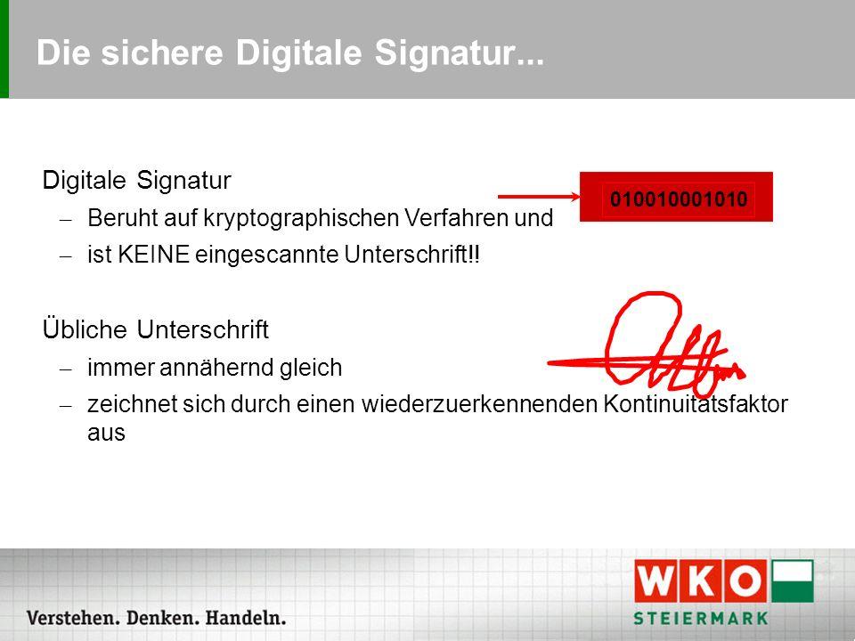 """Die """"sichere digitale Signatur :  Karte mit Signaturfunktion (""""a-sign-premium )  Kartenleser am PC  PIN Die sichere Signatur deckt Funktionen aller anderen Signaturtypen ab und kann noch eines mehr: Per Gesetz (Signaturgesetz) ist sie der persönlichen Unterschrift gleichgestellt."""