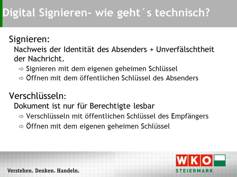 Signieren: Nachweis der Identität des Absenders + Unverfälschtheit der Nachricht.