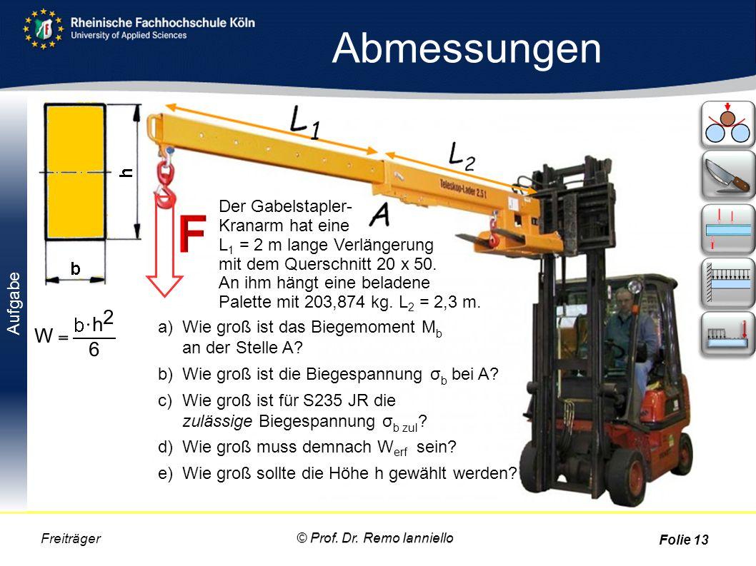 Aufgabe Abmessungen © Prof. Dr. Remo Ianniello Freiträger Folie 13 Der Gabelstapler- Kranarm hat eine L 1 = 2 m lange Verlängerung mit dem Querschnitt