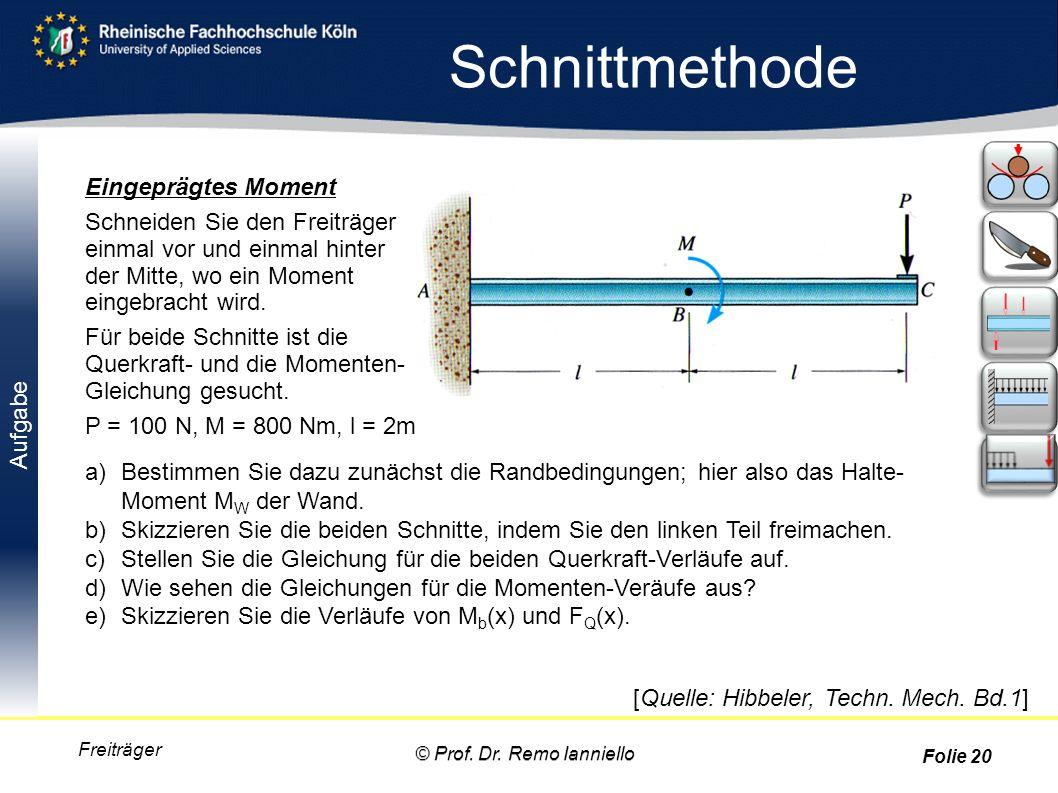 Aufgabe Schnittmethode Freiträger Eingeprägtes Moment Schneiden Sie den Freiträger einmal vor und einmal hinter der Mitte, wo ein Moment eingebracht w