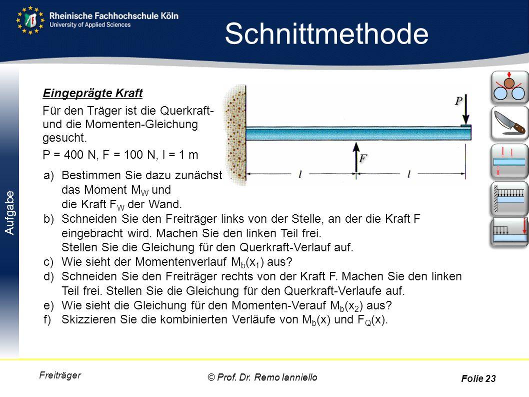 Aufgabe Schnittmethode Freiträger Eingeprägte Kraft Für den Träger ist die Querkraft- und die Momenten-Gleichung gesucht. P = 400 N, F = 100 N, l = 1