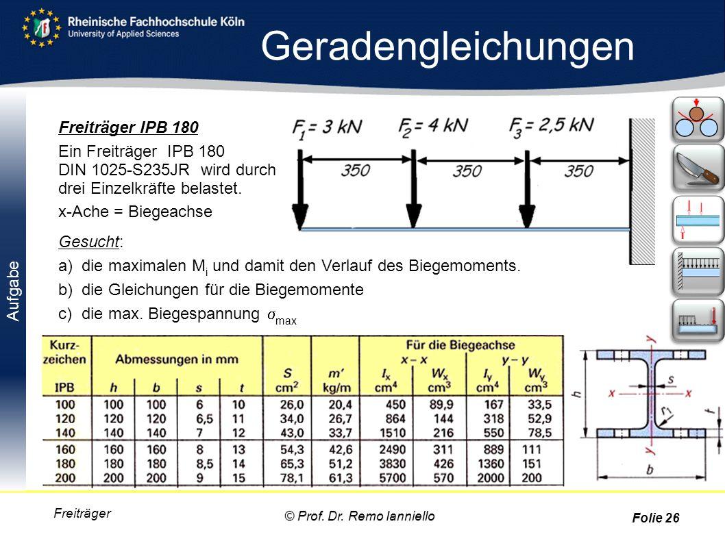 Aufgabe Geradengleichungen Freiträger Freiträger IPB 180 Ein Freiträger IPB 180 DIN 1025-S235JR wird durch drei Einzelkräfte belastet. x-Ache = Biegea