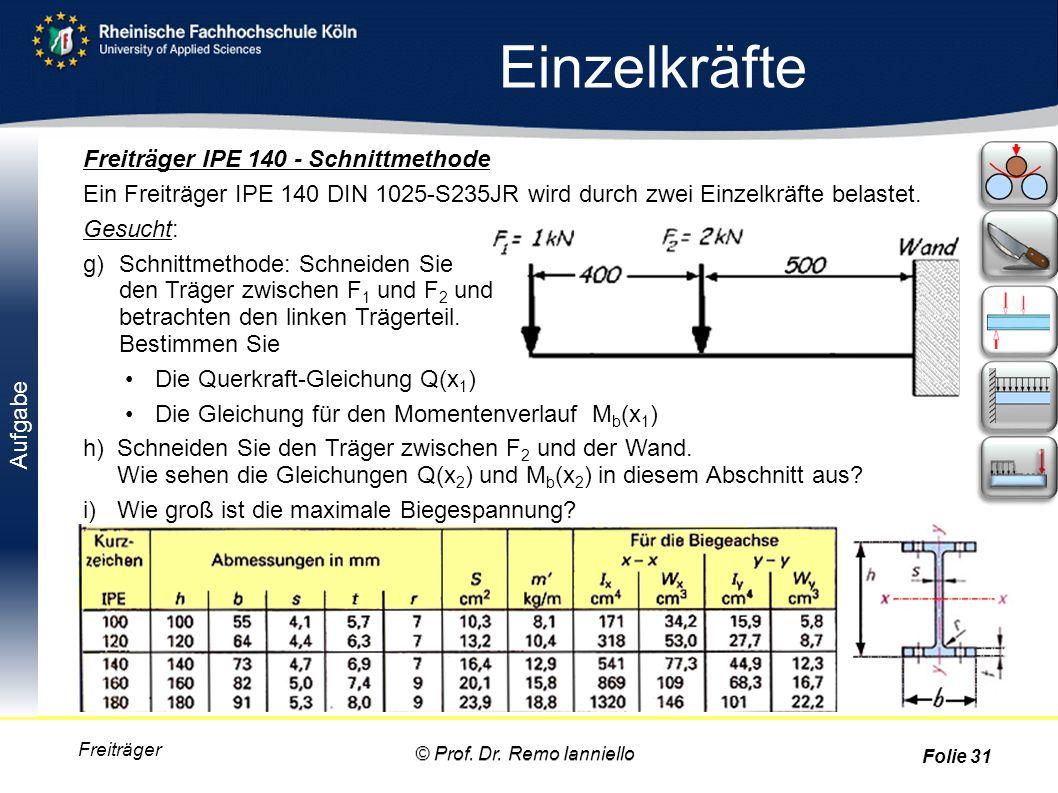 Aufgabe Einzelkräfte Freiträger Freiträger IPE 140 - Schnittmethode Ein Freiträger IPE 140 DIN 1025-S235JR wird durch zwei Einzelkräfte belastet. Gesu