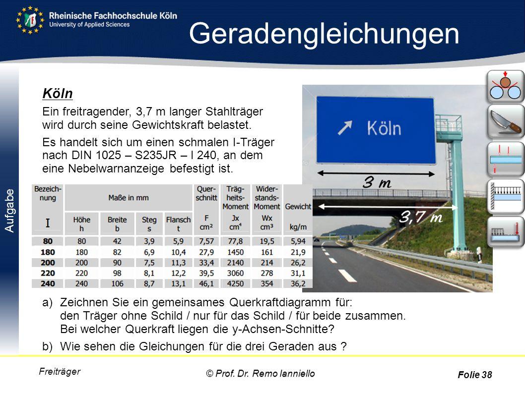 Aufgabe Geradengleichungen Freiträger Köln Ein freitragender, 3,7 m langer Stahlträger wird durch seine Gewichtskraft belastet. Es handelt sich um ein