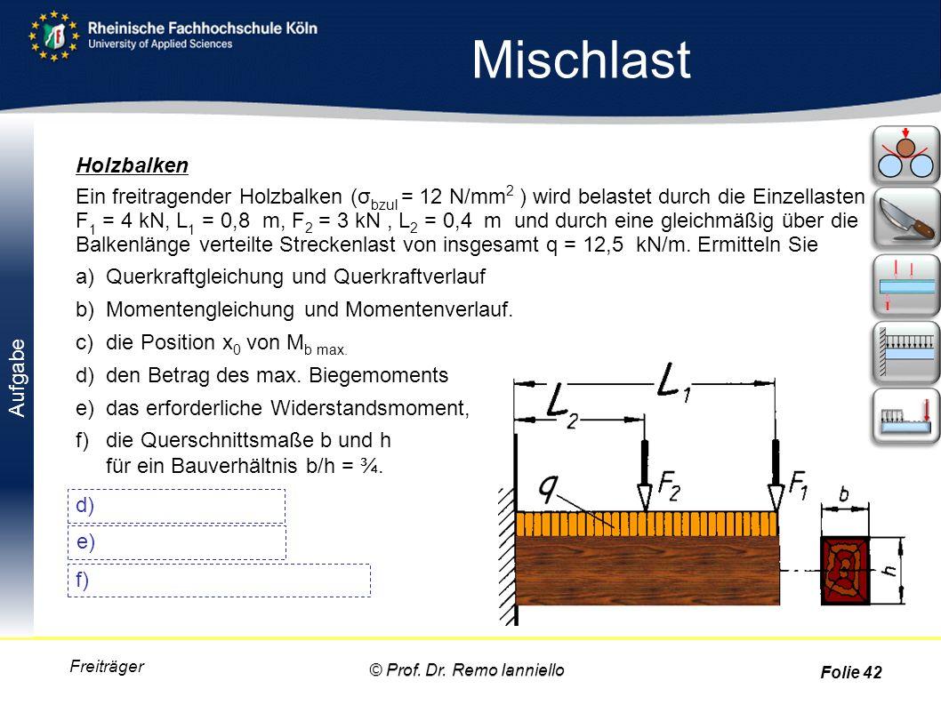 Aufgabe Mischlast Freiträger Holzbalken Ein freitragender Holzbalken (σ bzul = 12 N/mm 2 ) wird belastet durch die Einzellasten F 1 = 4 kN, L 1 = 0,8