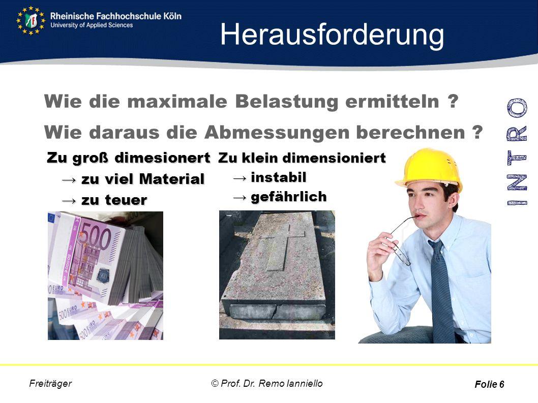 Herausforderung © Prof. Dr. Remo Ianniello Freiträger Folie 6 Wie die maximale Belastung ermitteln ? Wie daraus die Abmessungen berechnen ? Zu groß di