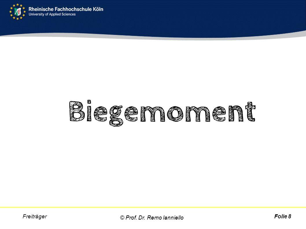 Biegemoment Folie 8 Freiträger © Prof. Dr. Remo Ianniello