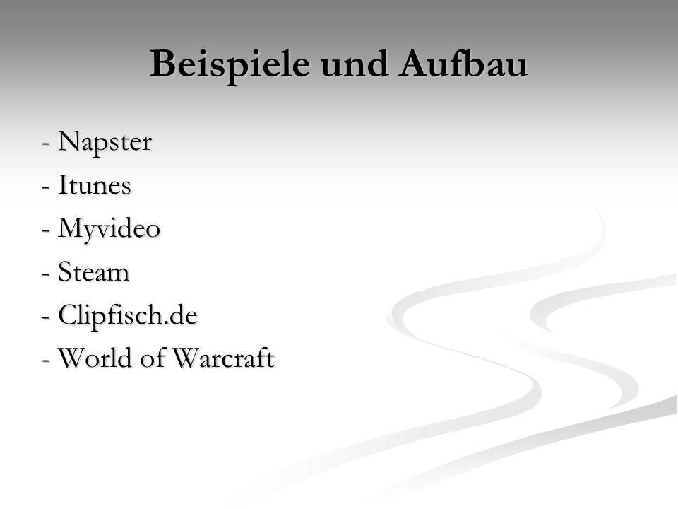 Beispiele und Aufbau - Napster - Itunes - Myvideo - Steam - Clipfisch.de - World of Warcraft