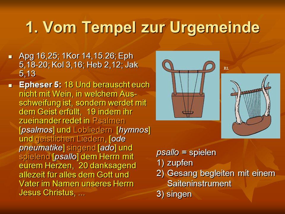 1. Vom Tempel zur Urgemeinde Apg 16,25; 1Kor 14,15.26; Eph 5,18-20; Kol 3,16; Heb 2,12; Jak 5,13 Apg 16,25; 1Kor 14,15.26; Eph 5,18-20; Kol 3,16; Heb
