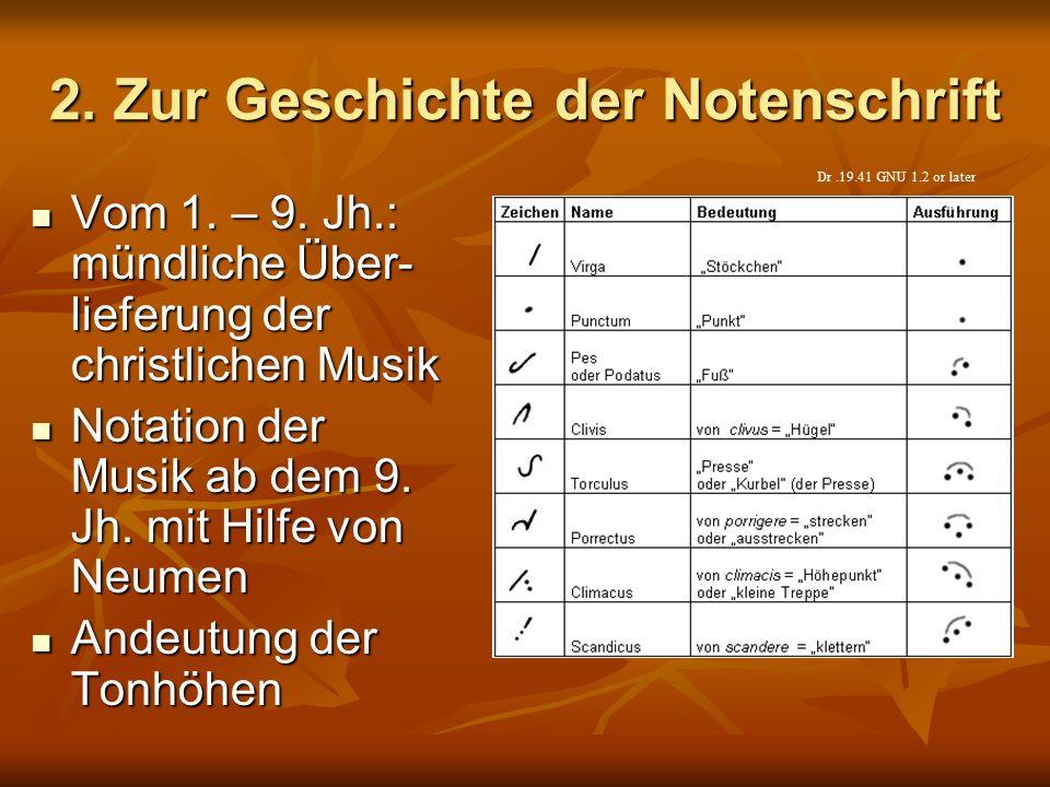 2. Zur Geschichte der Notenschrift Vom 1. – 9. Jh.: mündliche Über- lieferung der christlichen Musik Vom 1. – 9. Jh.: mündliche Über- lieferung der ch