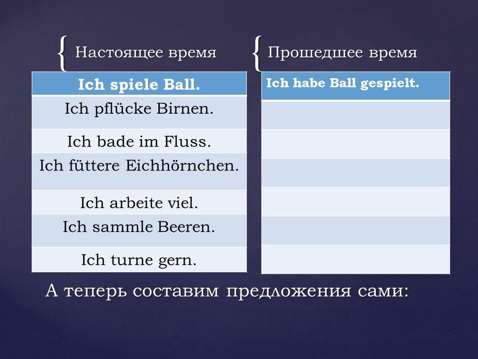 {{ Настоящее время Ich spiele Ball. Ich pflüсke Birnen.
