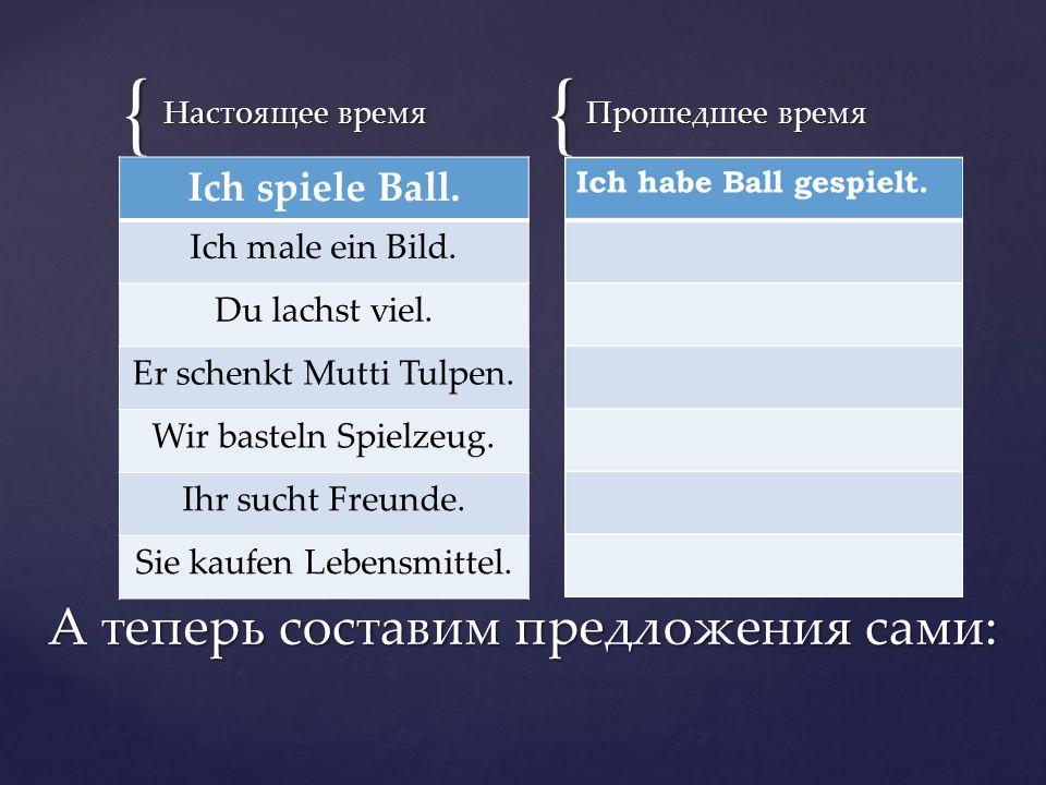 {{ Настоящее время Прошедшее время А теперь составим предложения сами: Ich spiele Ball.