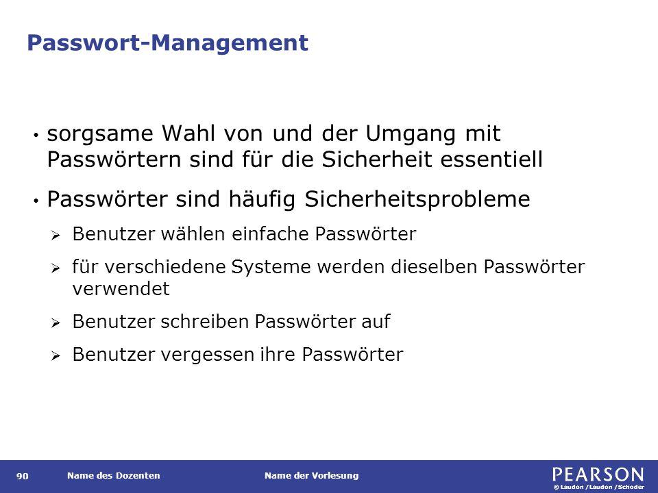 © Laudon /Laudon /Schoder Name des DozentenName der Vorlesung Passwort-Management 90 sorgsame Wahl von und der Umgang mit Passwörtern sind für die Sic