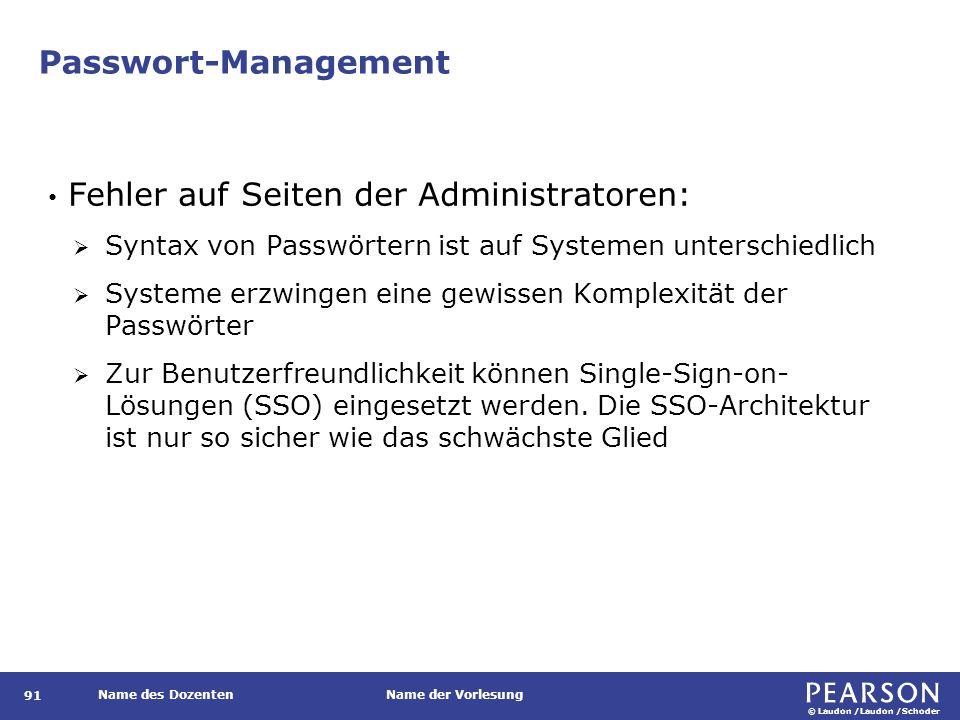 © Laudon /Laudon /Schoder Name des DozentenName der Vorlesung Passwort-Management 91 Fehler auf Seiten der Administratoren:  Syntax von Passwörtern i