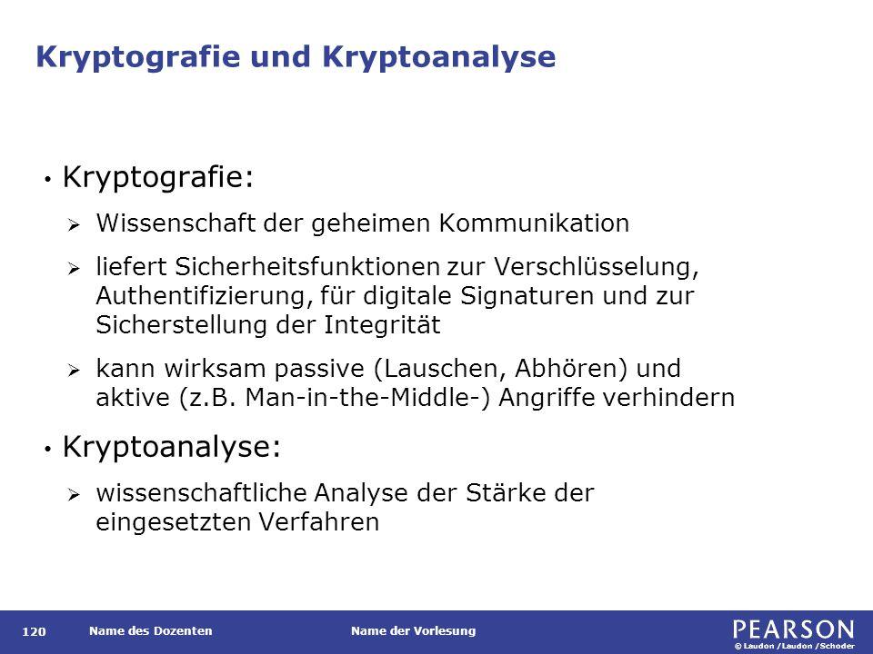 © Laudon /Laudon /Schoder Name des DozentenName der Vorlesung Kryptografie und Kryptoanalyse 120 Kryptografie:  Wissenschaft der geheimen Kommunikati