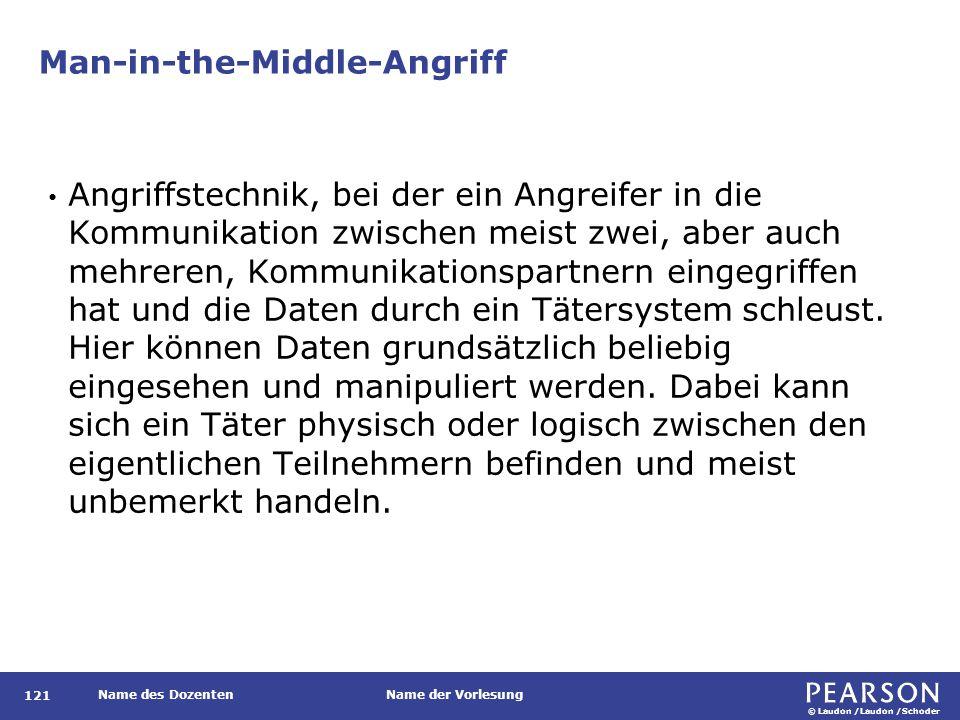 © Laudon /Laudon /Schoder Name des DozentenName der Vorlesung Man-in-the-Middle-Angriff 121 Angriffstechnik, bei der ein Angreifer in die Kommunikatio