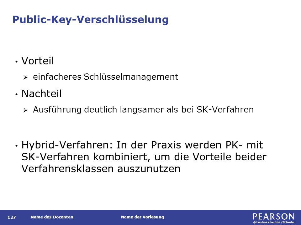 © Laudon /Laudon /Schoder Name des DozentenName der Vorlesung Public-Key-Verschlüsselung 127 Vorteil  einfacheres Schlüsselmanagement Nachteil  Ausf