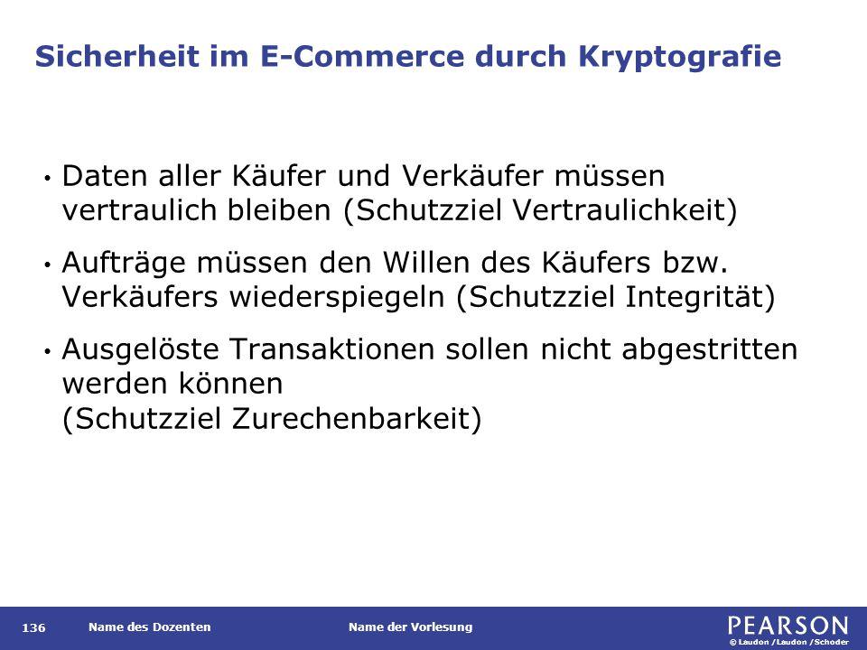 © Laudon /Laudon /Schoder Name des DozentenName der Vorlesung Sicherheit im E-Commerce durch Kryptografie 136 Daten aller Käufer und Verkäufer müssen