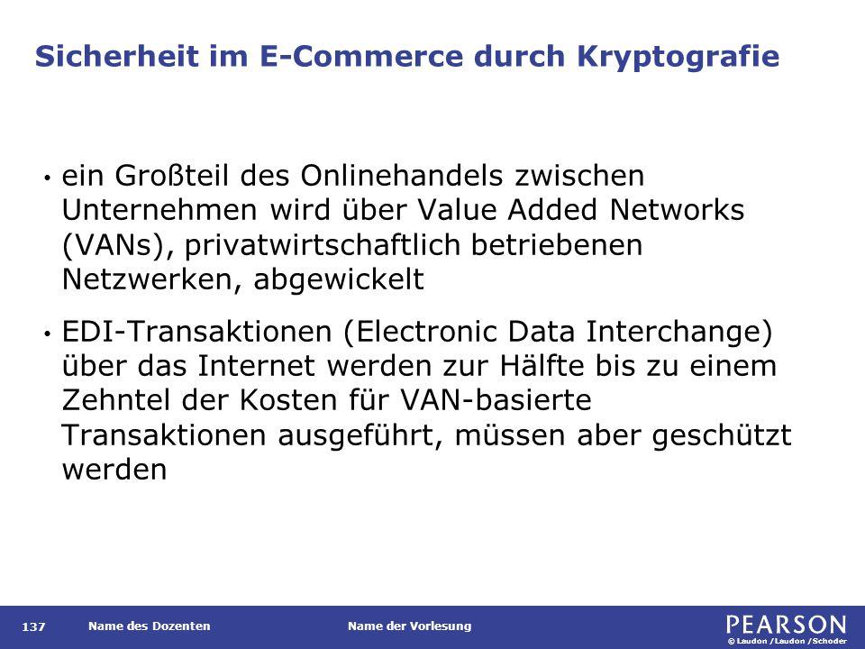 © Laudon /Laudon /Schoder Name des DozentenName der Vorlesung Sicherheit im E-Commerce durch Kryptografie 137 ein Großteil des Onlinehandels zwischen