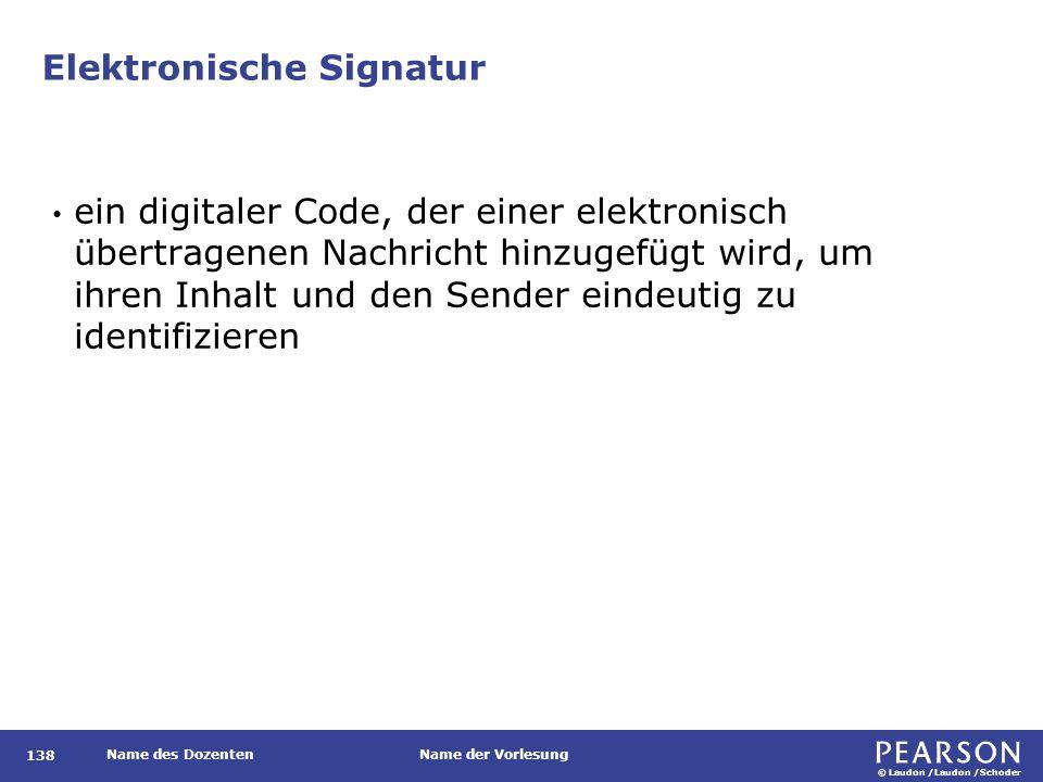 © Laudon /Laudon /Schoder Name des DozentenName der Vorlesung Elektronische Signatur 138 ein digitaler Code, der einer elektronisch übertragenen Nachr