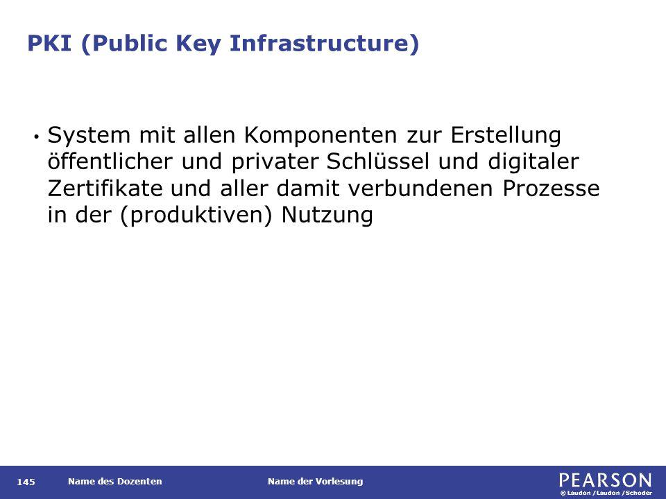 © Laudon /Laudon /Schoder Name des DozentenName der Vorlesung PKI (Public Key Infrastructure) 145 System mit allen Komponenten zur Erstellung öffentli