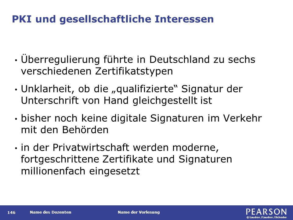 © Laudon /Laudon /Schoder Name des DozentenName der Vorlesung PKI und gesellschaftliche Interessen 146 Überregulierung führte in Deutschland zu sechs