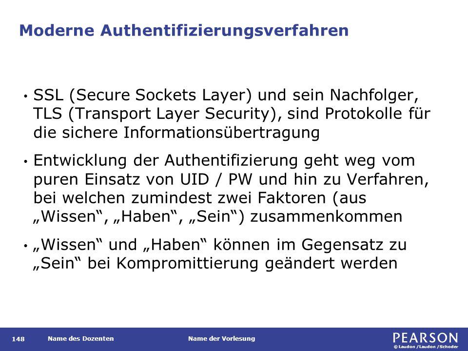 © Laudon /Laudon /Schoder Name des DozentenName der Vorlesung Moderne Authentifizierungsverfahren 148 SSL (Secure Sockets Layer) und sein Nachfolger,