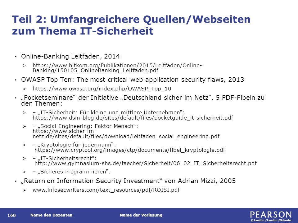 © Laudon /Laudon /Schoder Name des DozentenName der Vorlesung Teil 2: Umfangreichere Quellen/Webseiten zum Thema IT-Sicherheit 160 Online-Banking Leit