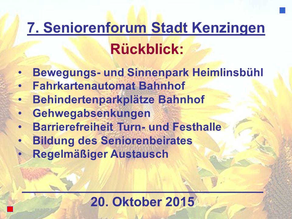 7. Seniorenforum Stadt Kenzingen Rückblick: Bewegungs- und Sinnenpark Heimlinsbühl Fahrkartenautomat Bahnhof Behindertenparkplätze Bahnhof Gehwegabsen