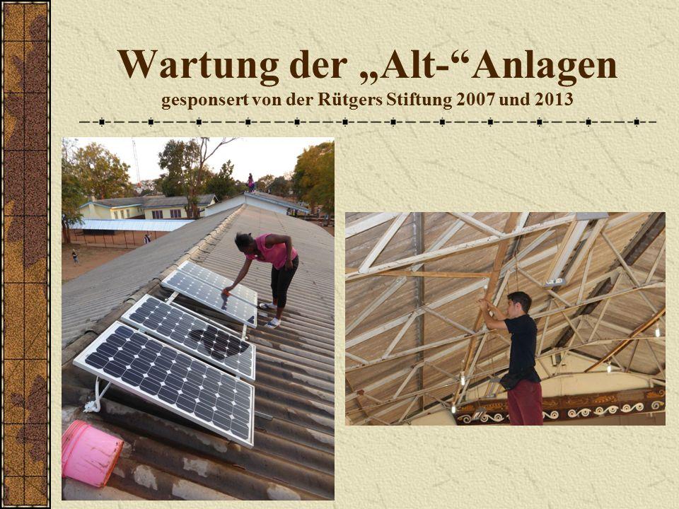 """Wartung der """"Alt- Anlagen gesponsert von der Rütgers Stiftung 2007 und 2013"""