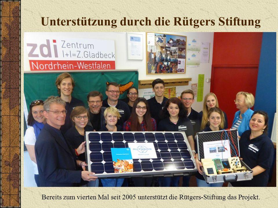 Unterstützung durch die Rütgers Stiftung Bereits zum vierten Mal seit 2005 unterstützt die Rütgers-Stiftung das Projekt.