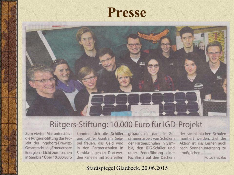 Presse Stadtspiegel Gladbeck, 20.06.2015