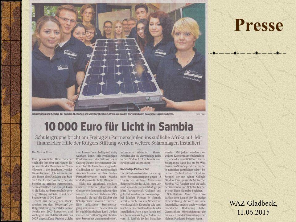 Presse WAZ Gladbeck, 11.06.2015